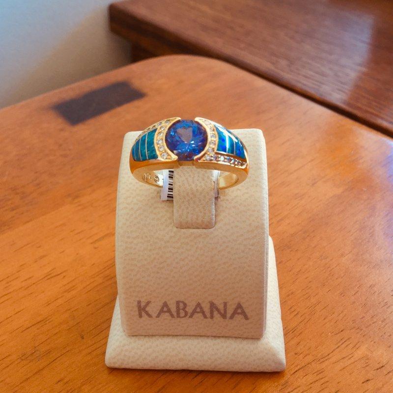 Kabana Jewelry Kabana 18k Yellow Gold Australian Opal, Round Tanzanite and Diamond Ring - #35889