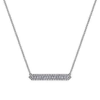 14k White Gold Diamond Bar Necklace by Gabriel NY