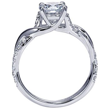 Platinum Engagement Ring by Gabriel NY with a Diamond Twist Band