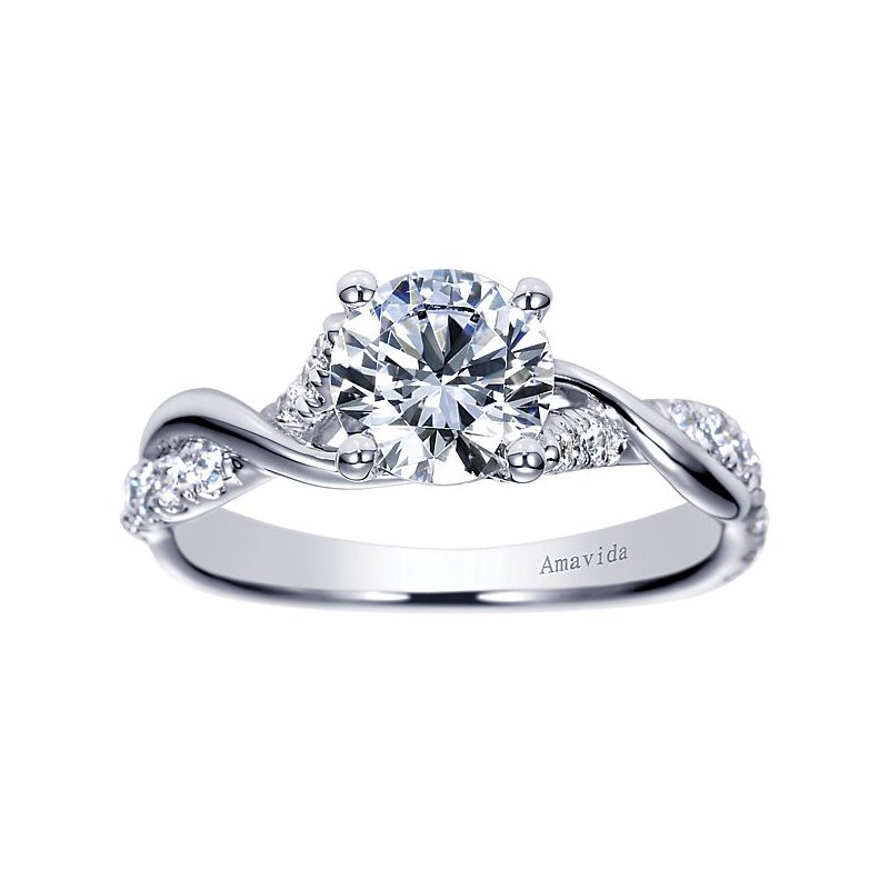 Gabriel Ny Platinum Engagement Ring By Gabriel Ny With A Diamond Twist Band Emerald Lady Jewelry
