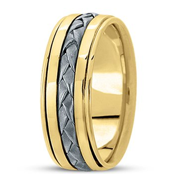 Unique Settings HM136 - Y - 14k Yellow Gold Handmade Handwoven 8mm Men's Wedding Band