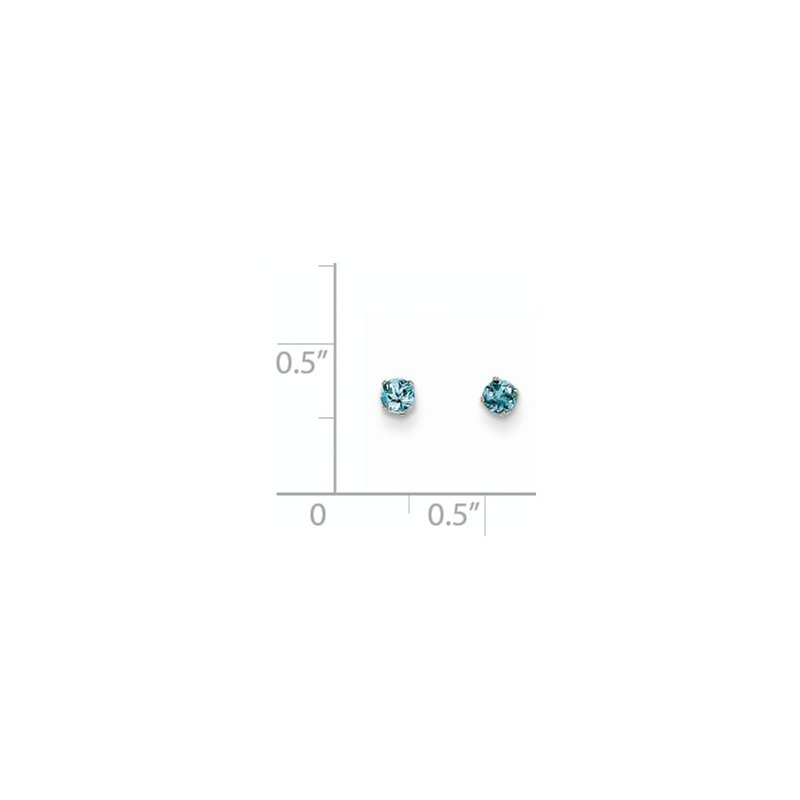 Signature Collection 14k White Gold 3mm Aquamarine Stud Earrings
