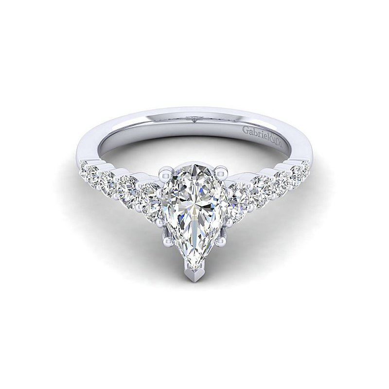 Gabriel NY 14k White Gold Pear Shape Engagement Ring by Gabriel NY - Style #ER11757P