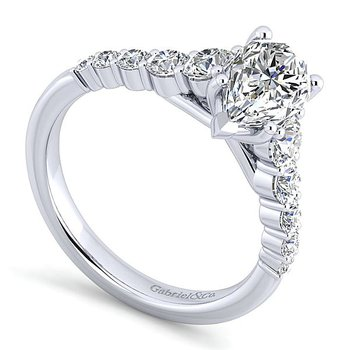 14k White Gold Pear Shape Engagement Ring by Gabriel NY - Style #ER11757P