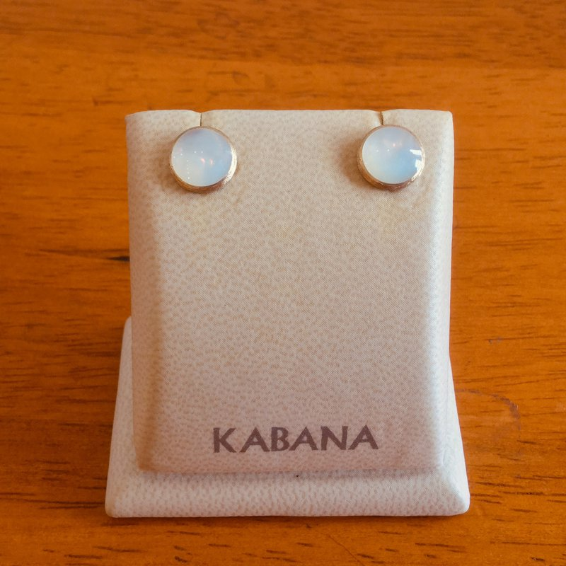Kabana Jewelry 14k Yellow Gold Stud Earrings by Kabana with White Mother of Pearl Inlay