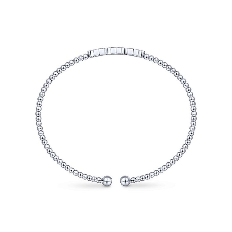 Signature Collection 14k White Gold Bangle with Diamonds in Octagon shapes by Gabriel NY