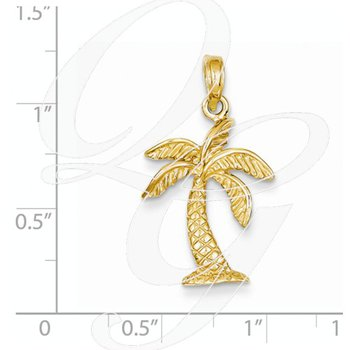 Quality Collection Sealife 14k Yellow Gold Polished Solid Palm Tree Pendant