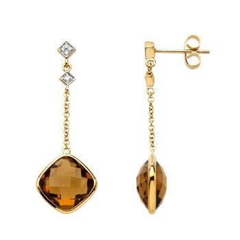 Genuine Checkerboard Cinnamon Quartz & Diamond Earrings