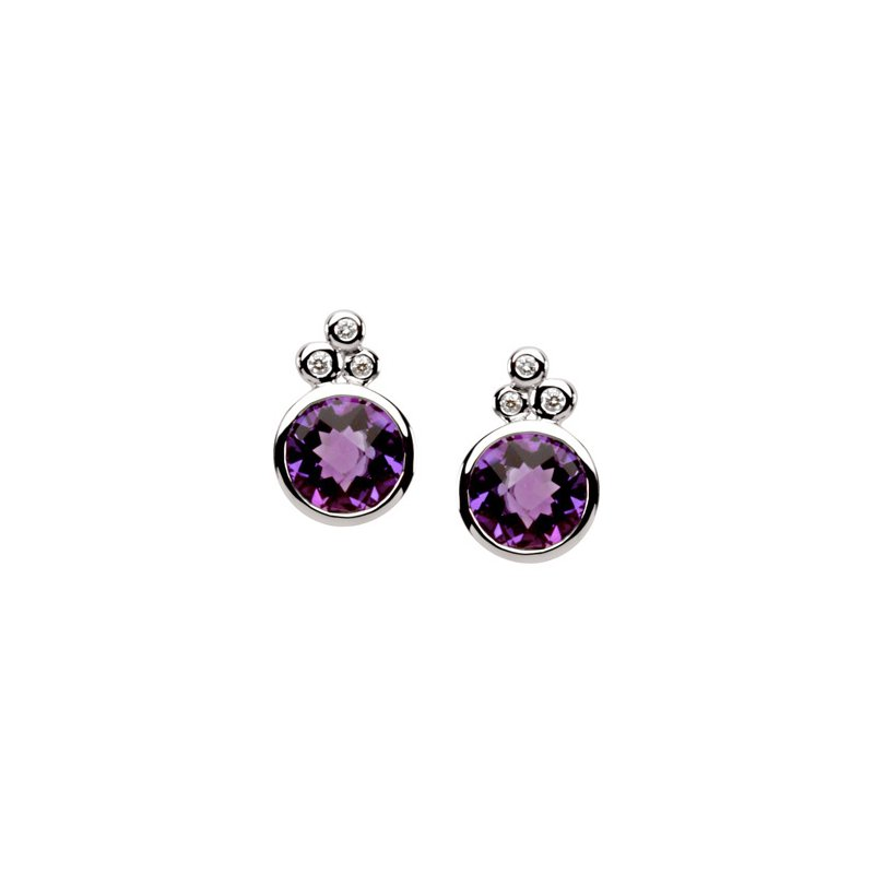 Signature Collection Genuine Checkerboard Amethyst & Diamond Earrings