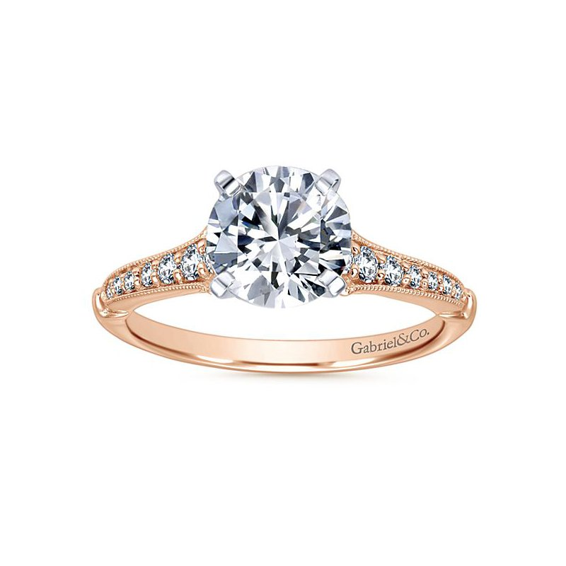 Gabriel NY Gabriel NY 14k Rose Gold dainty Vintage Style Diamond Engagement Ring
