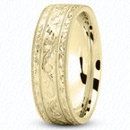 Unique Settings Unique Settings M475 - Y - 14k Yellow Gold Fancy Carved Hand Engraved 7mm Men's Wedding Band