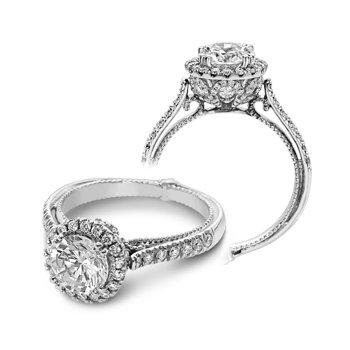 Verragio Couture 0433DR - 18k White Gold Round Halo Diamond Engagement Ring by Verragio