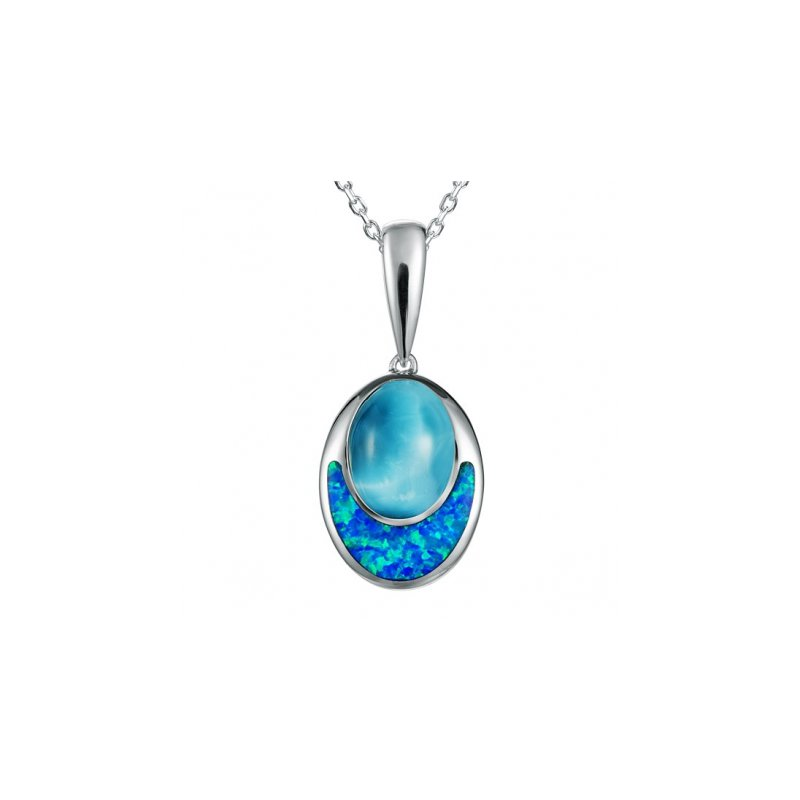 Alamea Larimar  Sterling Silver Oval Pendant by Alamea with Larimar and Lab Created Opal