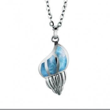 Alamea Sterling Silver Conch Shell Necklace with Larimar
