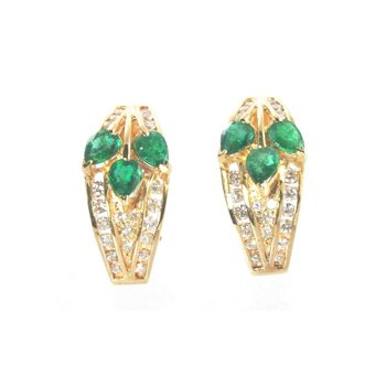 Genuine Emerald and Diamond Earrings in 14k Yellow Gold - 10123
