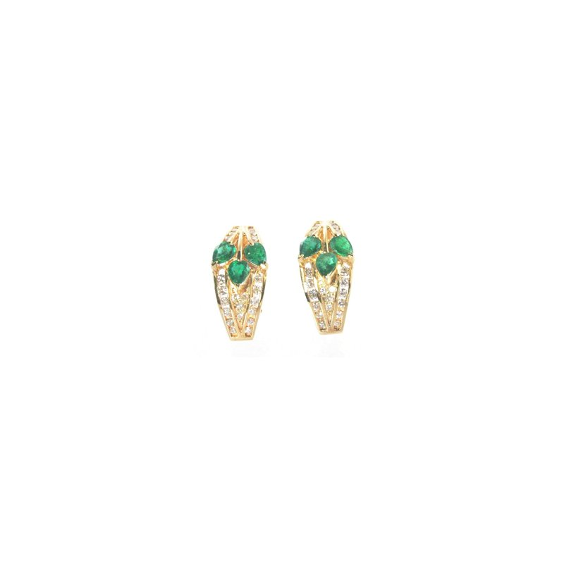Signature Collection Genuine Emerald and Diamond Earrings in 14k Yellow Gold - 10123