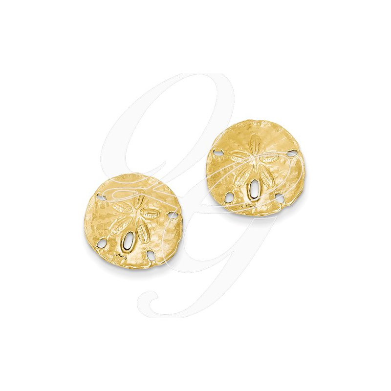 Sealife Jewelry Quality Collection Sealife 14k Yellow Gold Sand Dollar Earrings