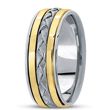 Unique Settings HM136 - W - Y - 14k White and Yellow Gold Handmade Handwoven 8mm Men's Wedding Band