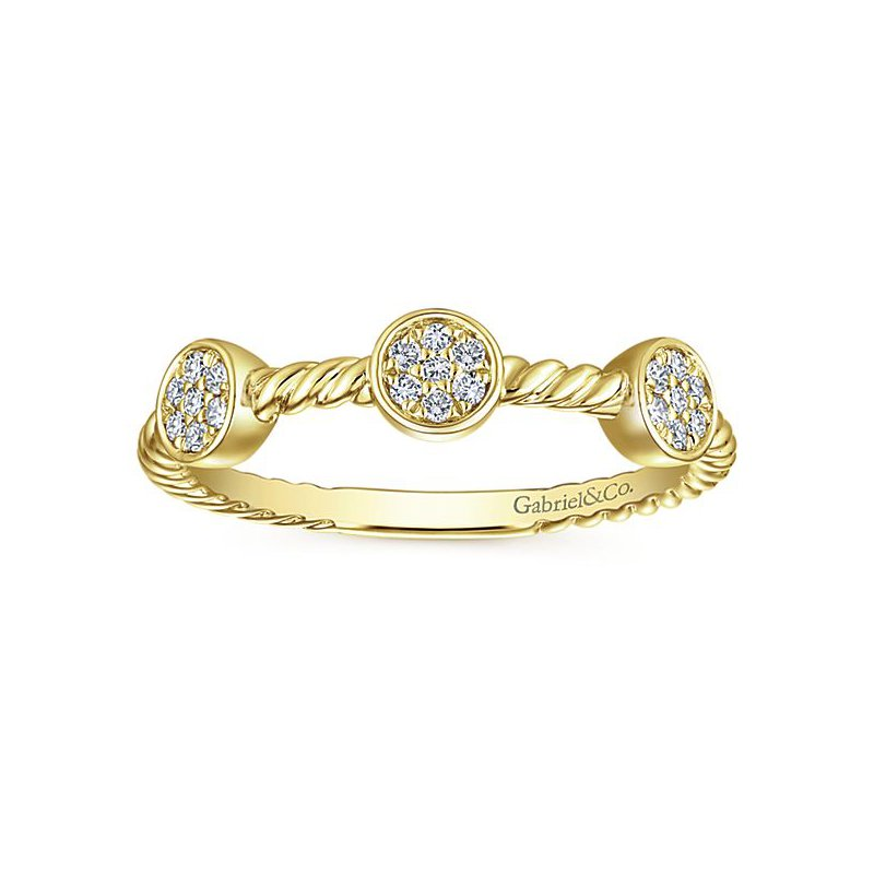 Gabriel NY Gabriel NY 14k Yellow Gold Pave' Diamond Cluster Stack Ring - Style #LR51256Y45JJ