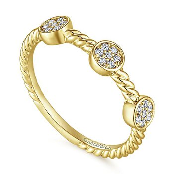 Gabriel NY 14k Yellow Gold Pave' Diamond Cluster Stack Ring - Style #LR51256Y45JJ