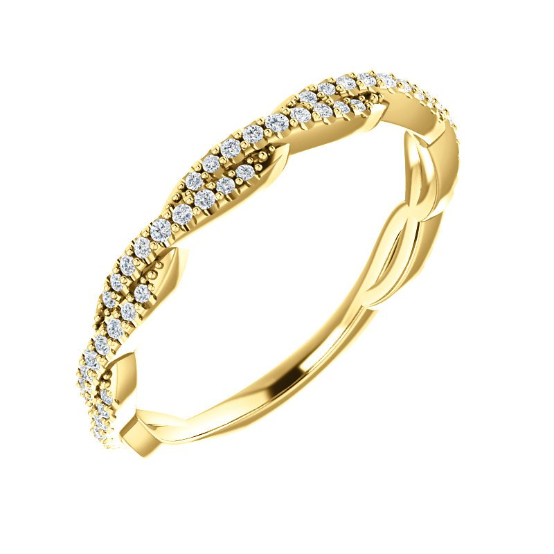 Signature Collection 14k Yellow Gold Twist Diamond Band from our Stackable Collections