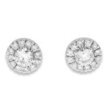 14k White Gold Halo Diamond Stud Earrings