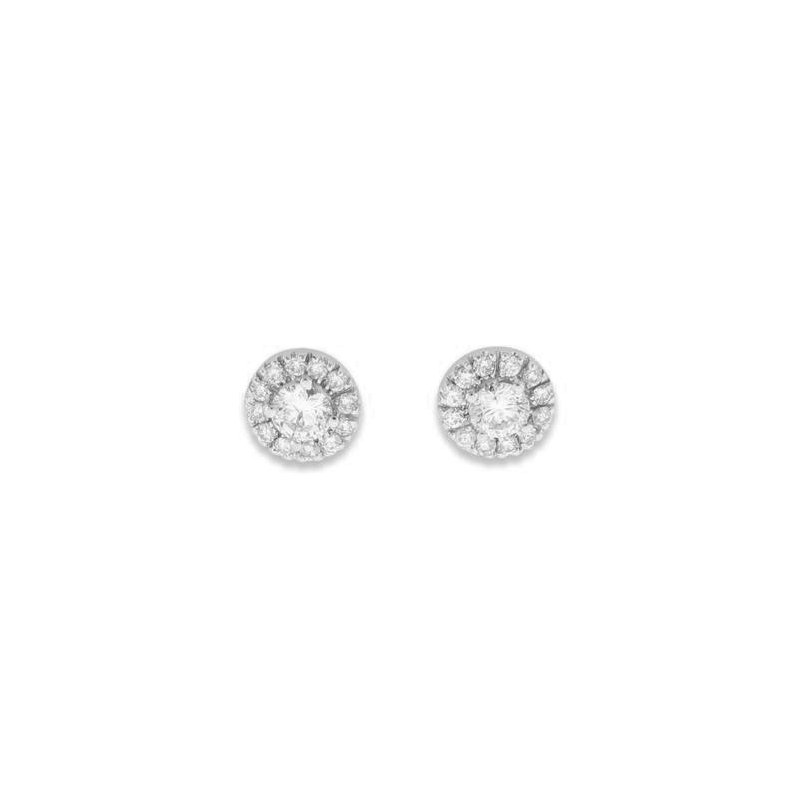 Signature Collection 14k White Gold Halo Diamond Stud Earrings