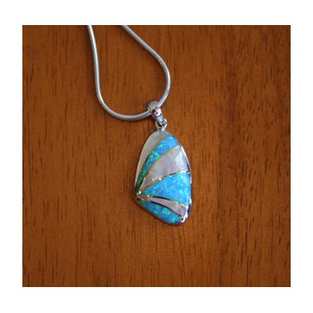 Sterling Silver and 18k Gold Plate Shell Pendant with Kyocera Lab Created Synthetic Opal and White Mother of Pearl.
