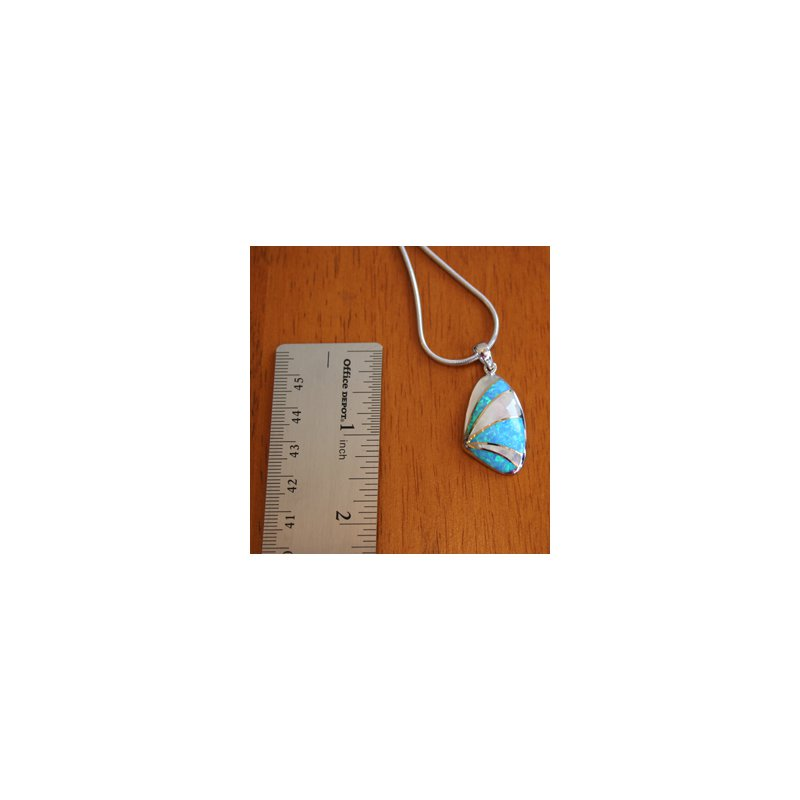 Kovel Sealife Sterling Silver and 18k Gold Plate Shell Pendant with Kyocera Lab Created Synthetic Opal and White Mother of Pearl.