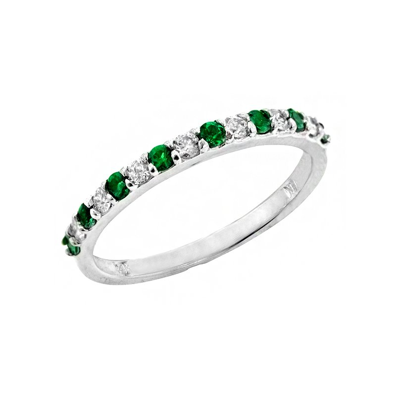 Signature Collection Genuine Emerald and Diamond Ring in 14k White Gold - 1664BE