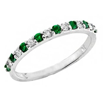 Genuine Emerald and Diamond Ring in 14k White Gold - 1664BE