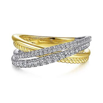 14k Yellow & White Gold Twisted Rope & Diamond Criss Cross Ring by Gabriel NY