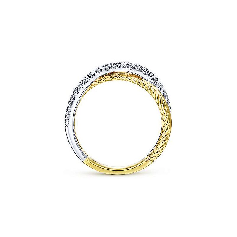 Signature Collection 14k Yellow & White Gold Twisted Rope & Diamond Criss Cross Ring by Gabriel NY