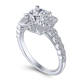 Memphis 14k White Gold Vintage Style Halo Engagement Ring by Gabriel NY