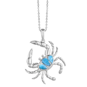 Alamea Sterling Silver Blue Crab Pendant with Larimar
