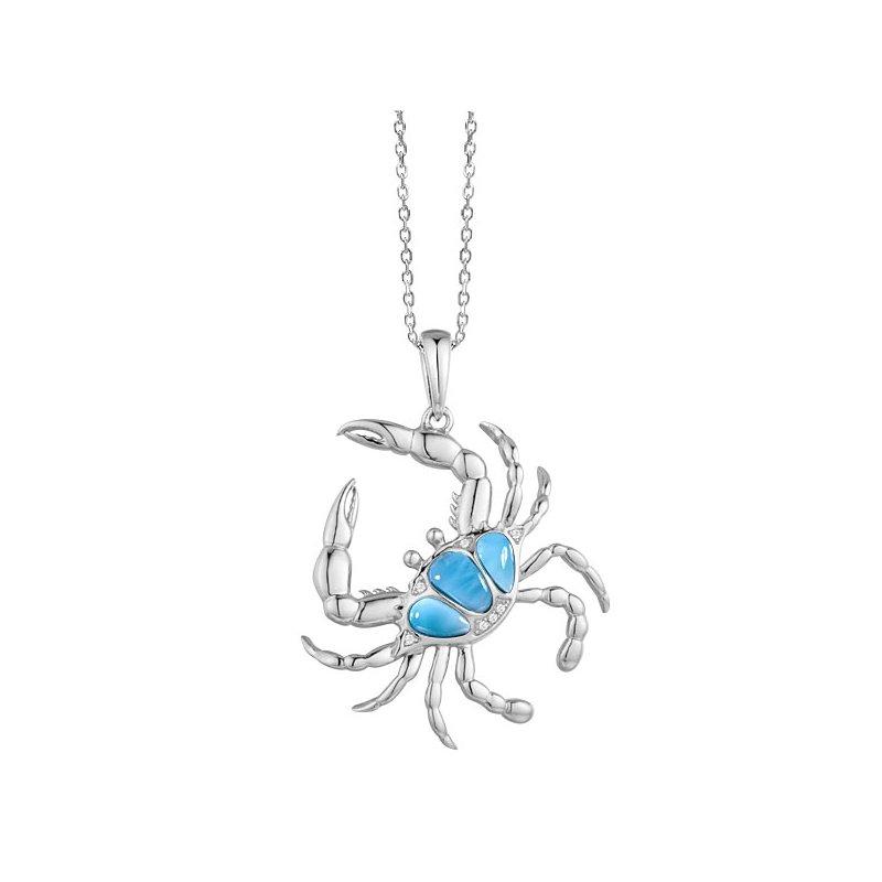Alamea Larimar  Alamea Sterling Silver Blue Crab Pendant with Larimar