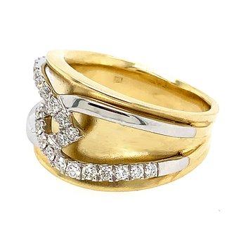 14k Yellow & White Gold Diamond Band