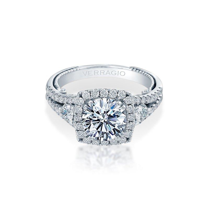 Verragio Verragio Insignia-7068CUL- 18k White Gold Cushion Halo Diamond Engagement Ring by Verragio