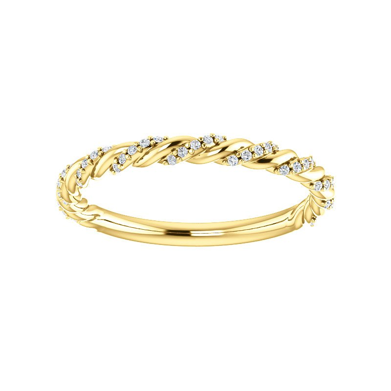 Signature Collection 14k Yellow Gold Twist Rope Diamond Wedding Band or Anniversary Band - #42480