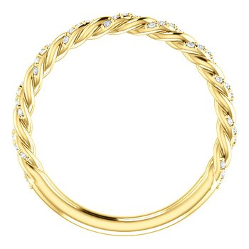 14k Yellow Gold Twist Rope Diamond Wedding Band or Anniversary Band - #42480