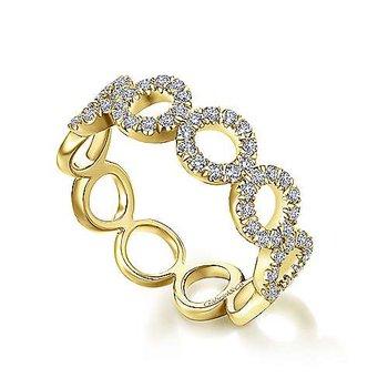 14k Yellow Gold Open Circle Diamond Ring by Gabriel NY