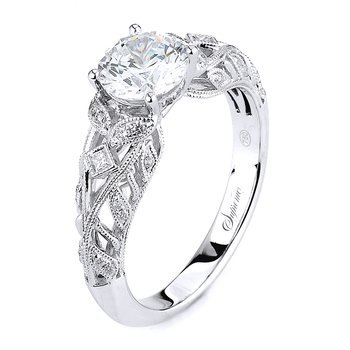 Supreme 14k White Gold Lace and Scroll Vintage Style Engagement Ring Style 152259