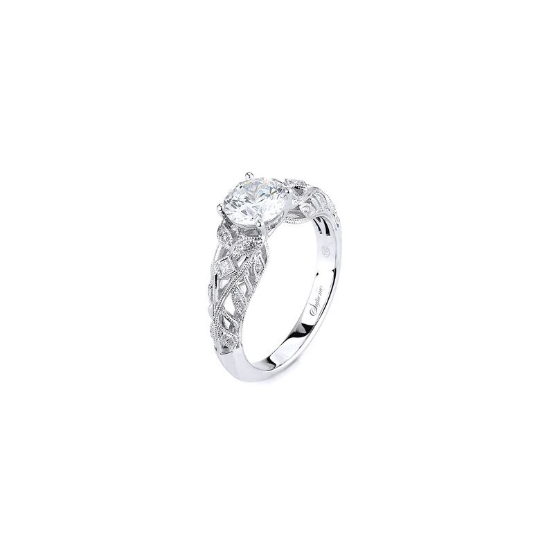 Signature Collection Supreme 14k White Gold Lace and Scroll Vintage Style Engagement Ring Style 152259
