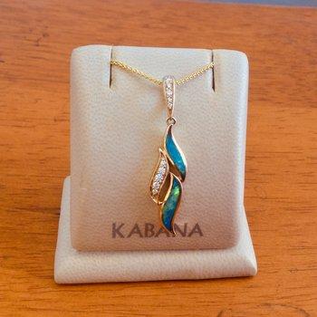 Kabana 14k Yellow Gold Freeform Pendant with Australian Opal Inlay and Diamonds