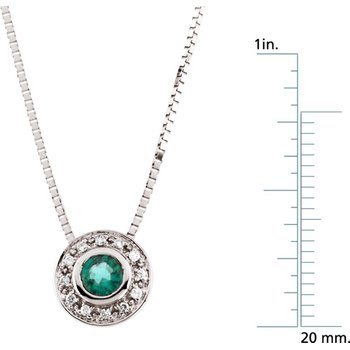Genuine Emerald & Diamond Necklace - EL420134