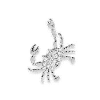 14k White Gold Diamond Crab Pendant