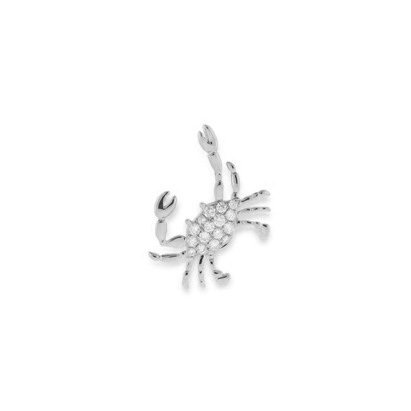 Sealife Jewelry 14k White Gold Diamond Crab Pendant