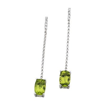 Genuine Peridot & Diamond Earrings