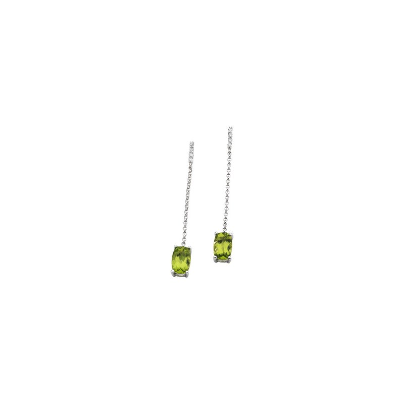 Signature Collection Genuine Peridot & Diamond Earrings