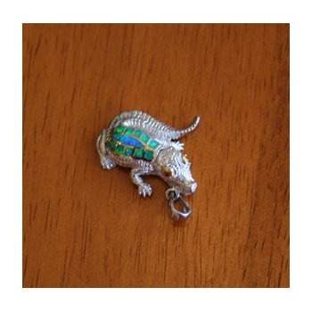 Sterling Silver and 18k Gold Plate Alligator with Kyocera Lab Created Synthetic Opal and Citrine.